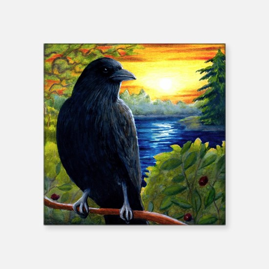 "Bird 63 crow raven Square Sticker 3"" x 3"""