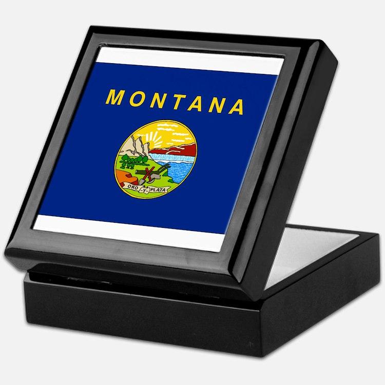 Montana Flag Keepsake Box