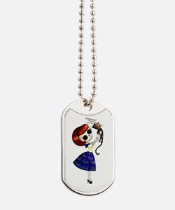 Skeleton Girl with Kitty Cat Dog Tags