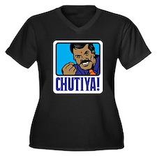 Chutiya! Women's Plus Size V-Neck Dark T-Shirt