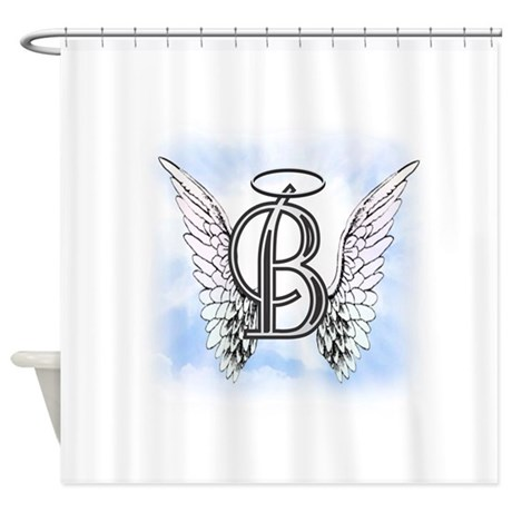 letter b monogram shower curtain