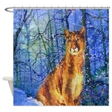 Snow Cougar Shower Curtain
