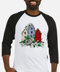 Three Birdhouses and a Nest copy Baseball Jersey
