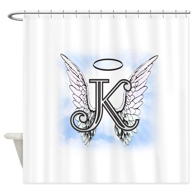Letter k monogram shower curtain by amelianangels for Kitchen colors with white cabinets with monogram stickers for cups