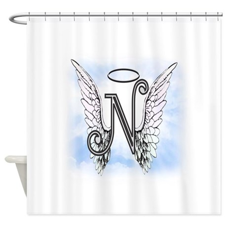 letter n monogram shower curtain