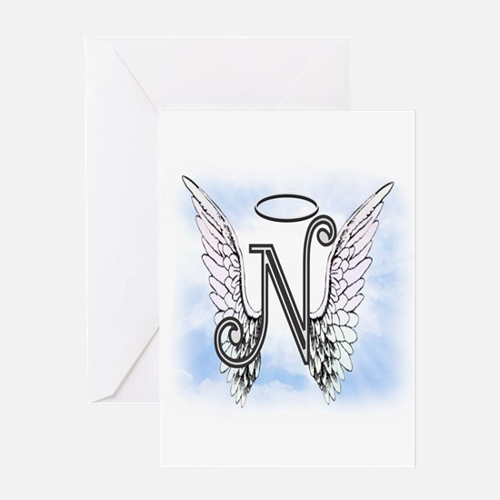 Letter N Monogram Greeting Cards