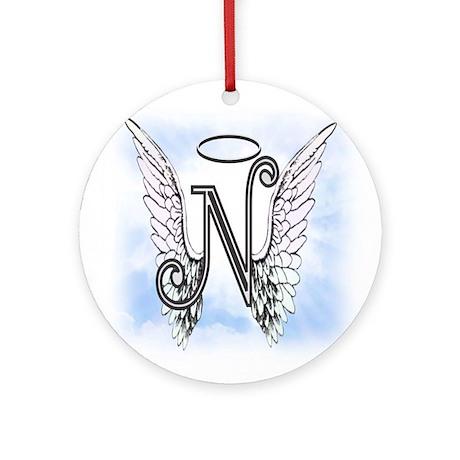 Letter N Monogram Ornament Round By AmelianAngels