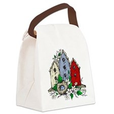 Three Birdhouses and a Nest copy Canvas Lunch Bag