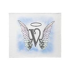 Letter V Monogram Throw Blanket