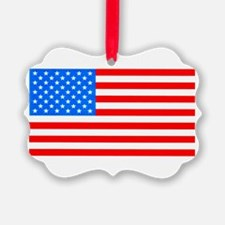 American Flag Light Blue 4th of July Pie Ornament