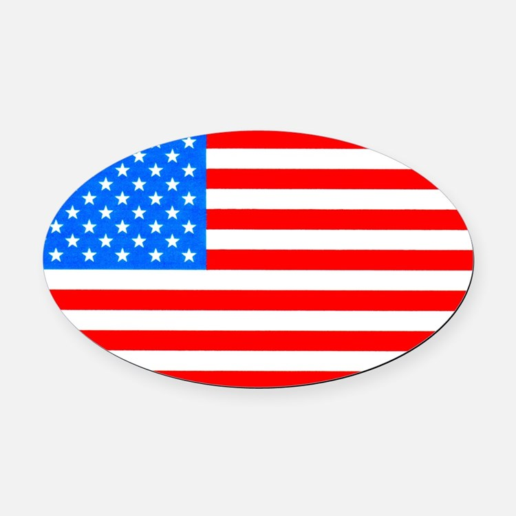 American Flag Light Blue 4th of July Pie Oval Car