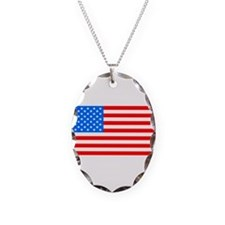 American Flag Light Blue 4th of July Pie Necklace