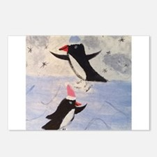 Skating penguins Postcards (Package of 8)