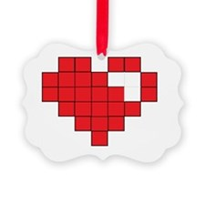 Red Pixel Heart Ornament