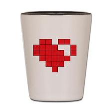 Red Pixel Heart Shot Glass