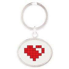 Red Pixel Heart Oval Keychain