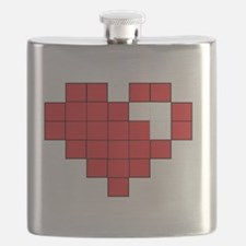 Red Pixel Heart Flask