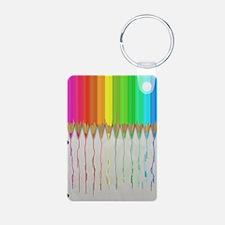 Melting Rainbow Pencils Aluminum Photo Keychain