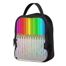 Melting Rainbow Pencils Neoprene Lunch Bag