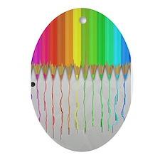 Melting Rainbow Pencils Ornament (Oval)