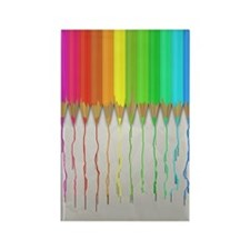 Melting Rainbow Pencils Rectangle Magnet