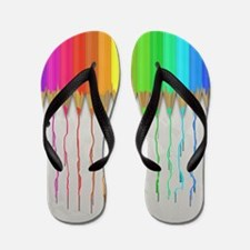Melting Rainbow Pencils Flip Flops