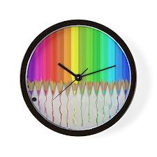 Melting Rainbow Pencils Wall Clock