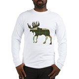 Plaid moose Long Sleeve T-shirts