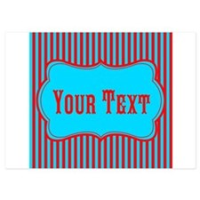 Personalizable Teal and Red Stripes Invitations