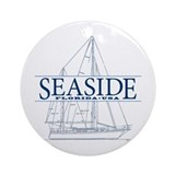 Seaside fl Round Ornaments