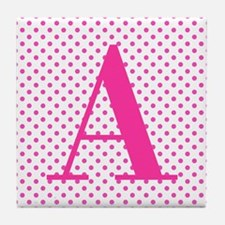 Personalizable Initial on Pink Tile Coaster