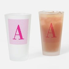 Personalizable Initial on Pink Drinking Glass