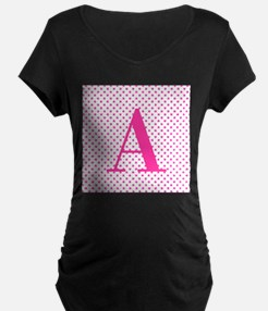 Personalizable Initial on Pink Maternity T-Shirt