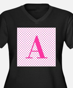 Personalizable Initial on Pink Plus Size T-Shirt
