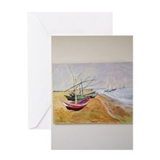 Boats On Beach Greeting Card