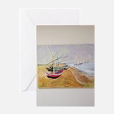 Boats On Beach Greeting Card