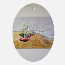 Boats On Beach Oval Ornament