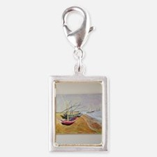 Boats On Beach Silver Portrait Charm