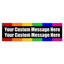 2 LINES CUSTOM Rainbow Gay Pride Bumper Bumper Sticker