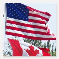 """US and Canadian Flags Square Car Magnet 3"""" x 3"""""""