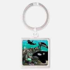 Mermaid with orca Keychains
