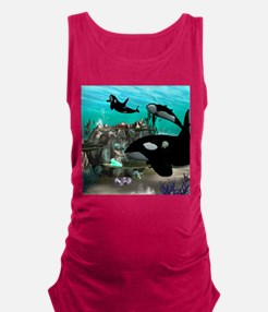 Mermaid with orca Maternity Tank Top