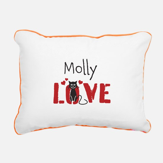 Personalize Kitty Love Rectangular Canvas Pillow