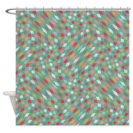 Flux Teal Amp Coral Shower Curtain By PrismaticFanatic