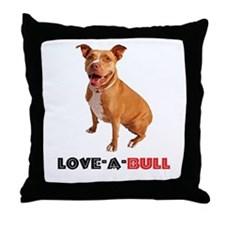 Cute Brown Pittie Love-a-Bull Throw Pillow