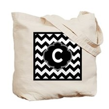 Black White ZigZag Monogram Tote Bag