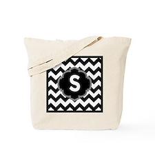 Black White ZigZag Monogram Tote Bag