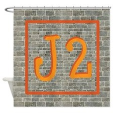J2--Graffiti-Orange-Brickwall ~ Shower Curtain