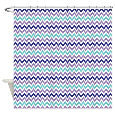 Purple lavender aqua chevron shower curtain by nature tees for Aqua colored bathroom accessories