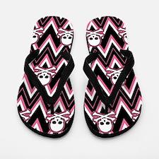 Gothic Pink Skull Chevron Pattern Flip Flops